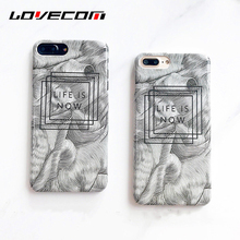 LOVECOM Vintage Sketch lines Phone Case For iPhone 7 7 Plus Matte Hard PC Half-wrapped Letter Back Cover Coque