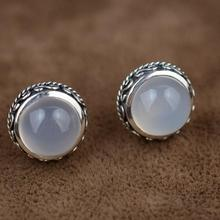 S925 sterling silver Thai silver hand-inlaid natural white chalcedony earrings