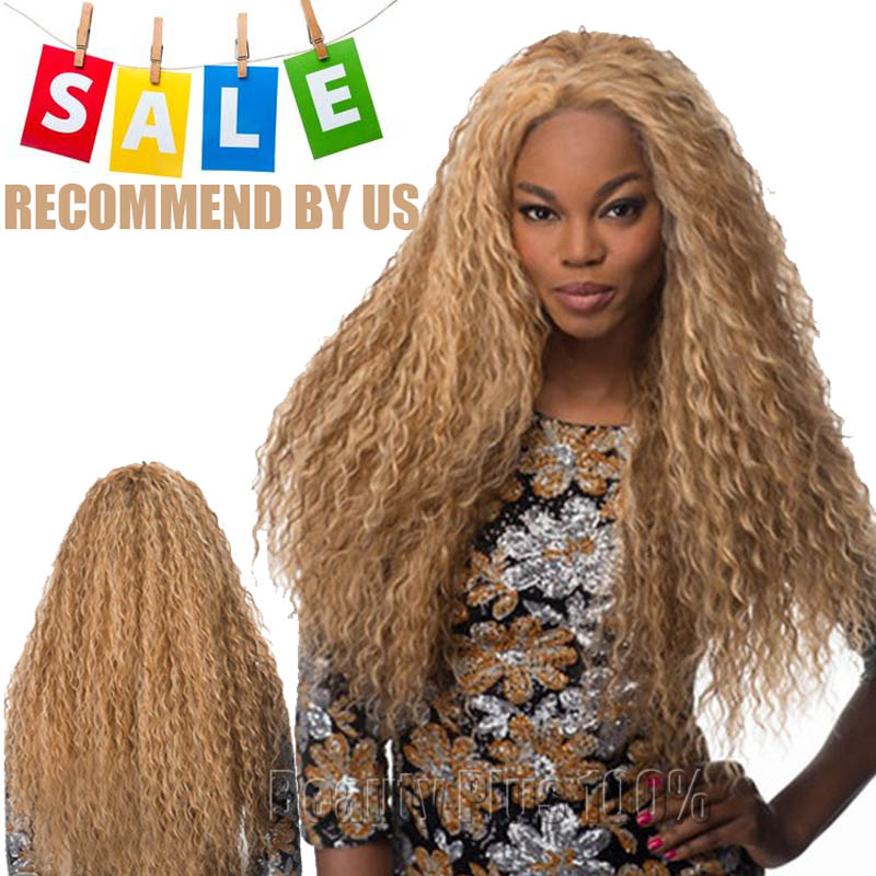 Cheap Synthetic Wigs Long Hair Natural Curly Blonde Wig Heat Resistant Fake Hair Full Head wig for African American braided wigs<br><br>Aliexpress