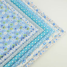Booksew 100% Cotton Fabric 7pcs Mix Light Blue Print Lovely Flowers Dots Square Bundle for Table Cloth DIY Dolls Handmade(China)