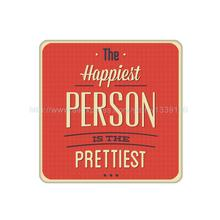 4Pcs/Lot Customized The Happiest Person The Prettiest Sign Cork Wood Beverage Coaster Table Drink Tea Coffe Cup Mat Home Decor