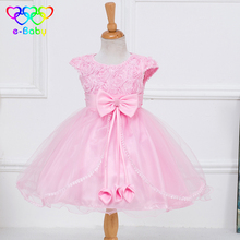 2017 New Girls costumes dresses Flowers Bow children evening dresses sleeveless mesh spring kids dresses for girls EB909