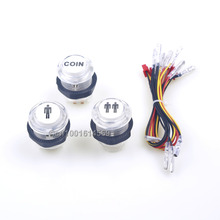 30mm Arcade LED Illuminated Light Start Player Push Button 1P + 2P + Arcade LED Coin Buttons For PS3 Games & PC Controller Games