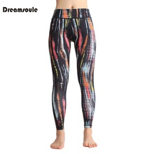 DREAMSOULE Women's Colorful Strip Yoga Workout Running Legging Soft Pants skinny pants For Yoga Fitness Sport Running tight pant(China)