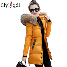 2017 New Winter Women Medium Long Jacket Coat Hooded Big Yards Thickening Warm parka High-end Eiderdown Cotton Sweet Coat LJ0056
