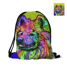 Custom Fashion 3D Printing Drawstring Backpack Samoyed Double Sides Men Women School Bag Travel Polyester Texture
