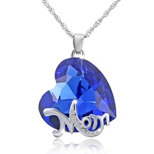 2017 new Fashion Music note necklace ocean Heart Pendant Blue crystal Jewelry Gift For Women wedding Love Gifts(China)