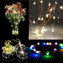 2M 20LED Outdoor Silver Wire String Fairy Lights Lamp Party Home Flower Vase Wedding Decoration Lighting
