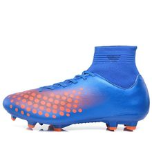 MAULTBY Men's Orange / Blue High Ankle AG Sole Outdoor Cleats Football Boots Shoes Soccer Cleats #S31701N
