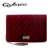 Brand Fashion Woman Bag Promotional Ladies luxury Velour Handbag Chain Messenger Shoulder Bag Ladies Plaid Women Crossbody Bag