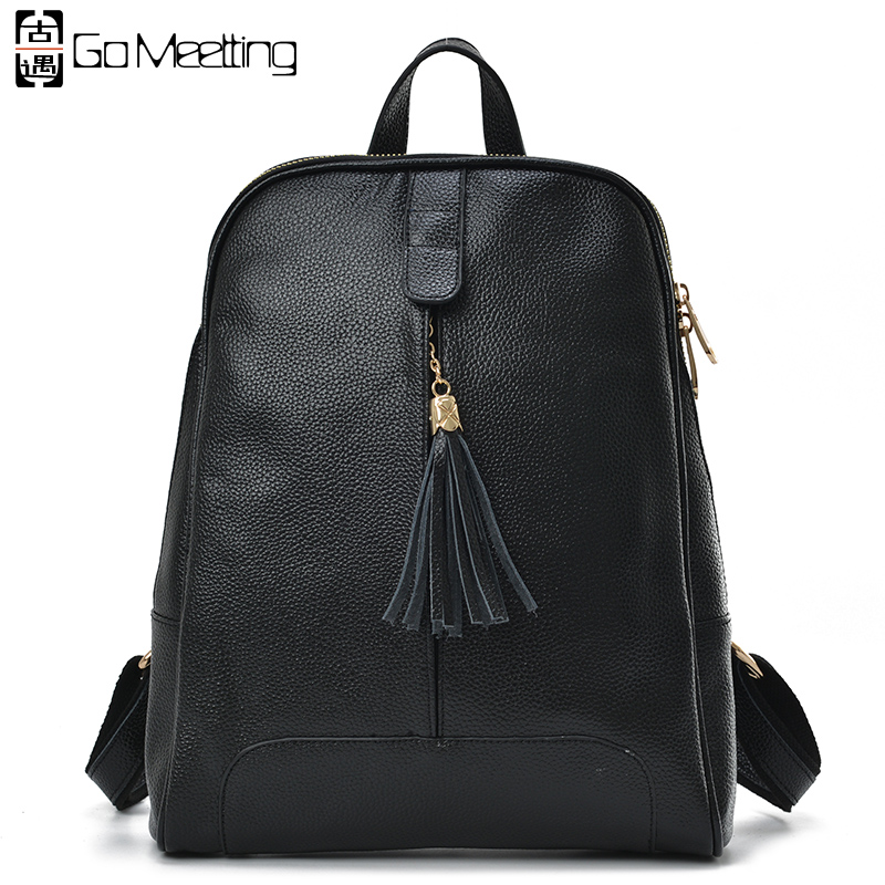 Go Meetting Genuine Leather Women Backpack High Quality Woman Cow Leather Backpack tassel SchoolBag Travel Backpacks WB47 <br><br>Aliexpress