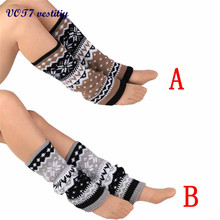 VOT7 vestitiy 2017 Fashion Women 40*13cm Knitting Snowflake Shape Footless Knee Socks Leg Warmers New version Sep 26