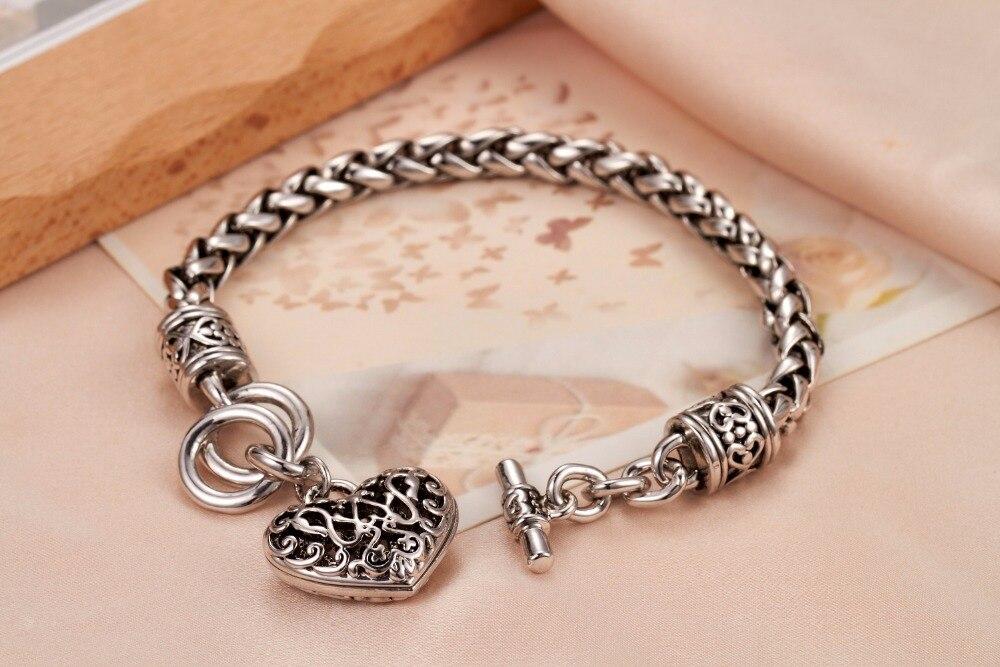 Hot Friendship Gift Black Side 925 Sterling Silver Bracelet & Love Heart Pendant B0002