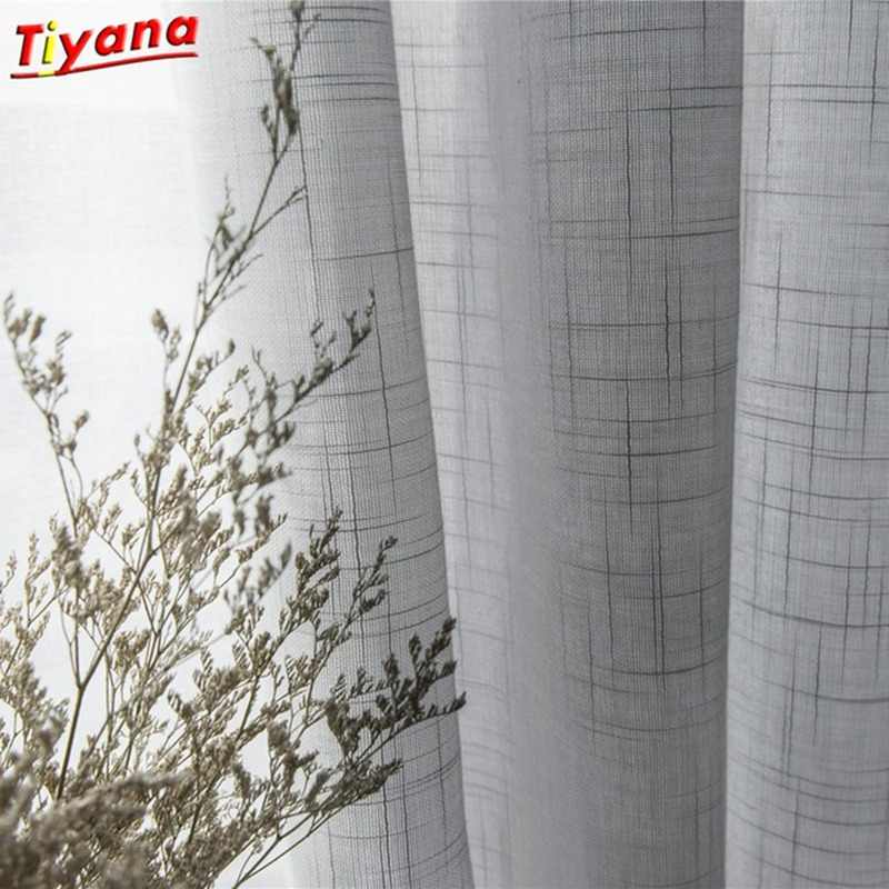Modern Grey Cotton Linen Tulle Curtains for Kitchen Door Sheer Window Treatments White Solid Tulle for The Living Room *40