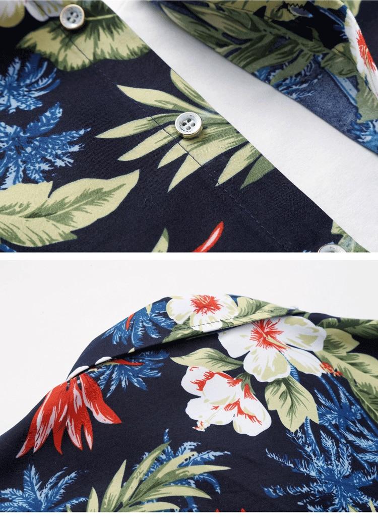 2018 Short Sleeve Mens Hawaiian Shirt Male Casual Camisa Masculina Flower Print Beach Summer Shirts Brand Clothing Men Plue Size 28