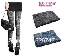 Cheap wholesale 2017 spring summer Hot sale cool warm women good elasticity variety imitation jeans design fashion sexy Leggings(China)