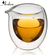 Arshen Handmade 200ml Clear Heat Resisting Double Wall Layer Tea Cup Pitcher Heat Insulation Chinese Kongfu Tea Cup Coffee Cups(China)