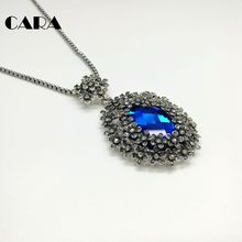 CARA New ladies vintage antique silver luxury big Blue oval crystal necklace 5 petal flowers surrounded women necklace CARA0095(China)