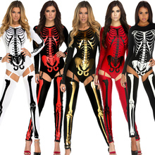 TaFiY 2017 Halloween Role Playing Costumes Women Skull Zombies Costume Sexy Women Ghost Jumpsuit+Foot Covers for Fancey Party(China)