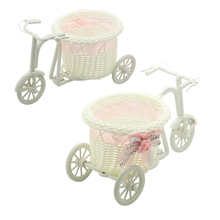 Useful 1 pc pink Bike Rattan Vase Basket Flowers Meters Bowknot Flower Vase Flowerpots Containers