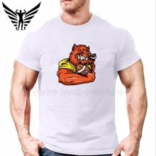 Muscleguys Brand Cartoon tiger rugby Mens T-Shirt cotton O-neck bodybuilding and fitness men tee shirt gyms clothing