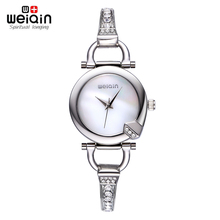 WEIQIN Womens Brand Watches Fashion 24 Hour Water Resistant Coffee Silver Crystal Rhinestone Bangle Bracelet Watch Ladies(China)