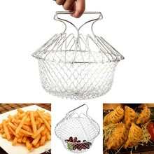 Food grade Foldable deep fry chef basket 304 Stainless steel kitchen cooking mesh colander Strainer for french fries tools(China)
