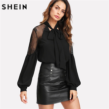 SHEIN Black Long Sleeve Blouse Elegant Women Tops Tie Neck Contrast Lace Shoulder Lantern Sleeve Spring Autumn Blouse(China)