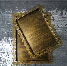 (2 Pieces/set)Vintage Golden Color Rectangle Serving Tray Wedding Decoration Big One 41*31CM Small One 36*26CM