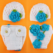 Newborn Photography Props Crochet Pattern Baby Hat and Diaper Cover Set Flower Design Infant Beanie Costume 1set H159