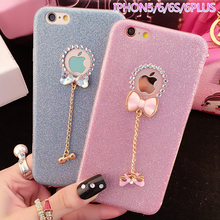 3D Cute Phone Case for iphone 5 5s SE 6 6s Plus 7 7 Plus Glitter Bling Diamond Rhinestone Butterfly Bowknot TPU Back Cover Bags
