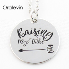Wholesale RAISING MY TRIBE Engraved Inspirational Pendant Charms Chain Necklace Lover Gift Jewelry 10Pcs/Lot,#LN119(China)
