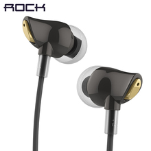 ROCK In Ear Zircon Stereo Earphone, Headset 3.5mm Luxury Earbuds For iPhone Samsung With Mic clear bass(China)