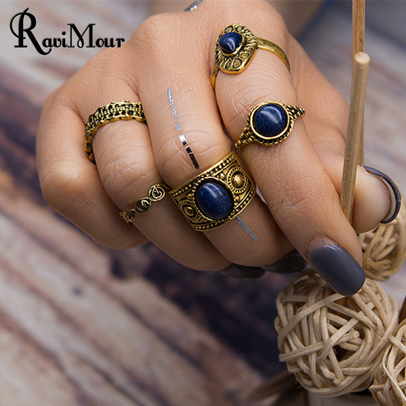 RAVIMOUR 5PCS/Set Vintage Ring Sets Antique Acrylic Blue Stone Midi Finger Rings for Women Steampunk Turkish Boho Anillos Mujer(China (Mainland))