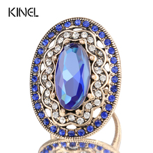 Buy 2017 New Charm Blue Big Ring Color Ancient Gold Vintage Wedding Rings Women Mosaic White Crystal Fashion Jewelry for $1.92 in AliExpress store