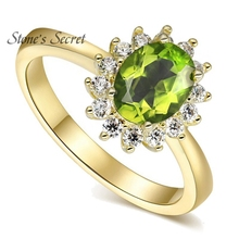 Precious 1.2ct 100% Natural 6X8 Oval Natural Manchurian Peridot With 1.50ctw CZ 18k Gold Plated Wedding Ring Fine Jewelry Gift(China)