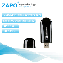 New ZAPO 1200Mbps wireless network card 802.11ac wifi adapter Mini usb 3.0 wi-fi receiver Dual Band wi fi dongle lan Adaptador(China)