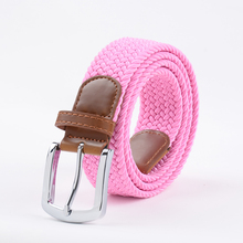 Extra Long Pink Elastic Web Belt Mens Stretch Belt Metal Buckle Woven Braid Belts for Big woman