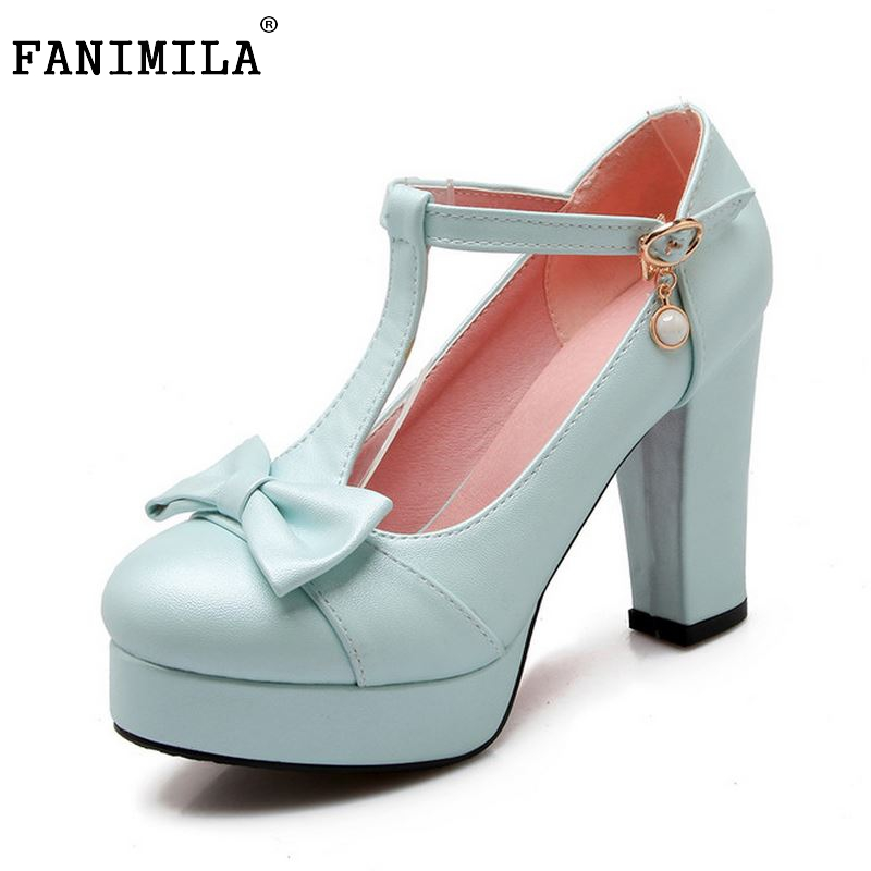 ladies brand summer high heel shoes t-strap round toe platform party women pumps concise footwear heels shoes size 33-43 P23460<br>