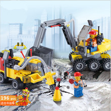 196pcs High quality City Construction Excavator Building Blocks Bricks Toys Brinquedos Forge World Compatible with lego(China)