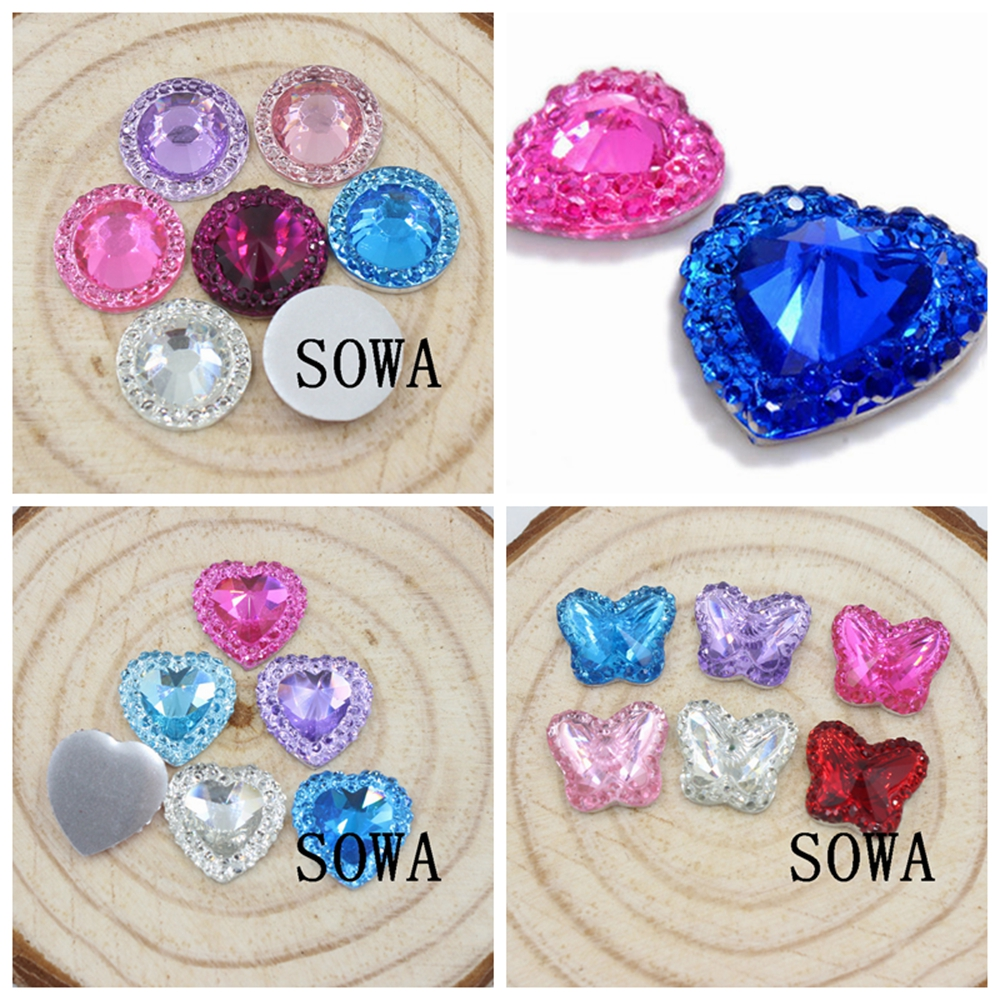 80 Lilac 16 mm Love Heart Beads Acrylic Rhinestone Gem Faceted Flatback Sew on
