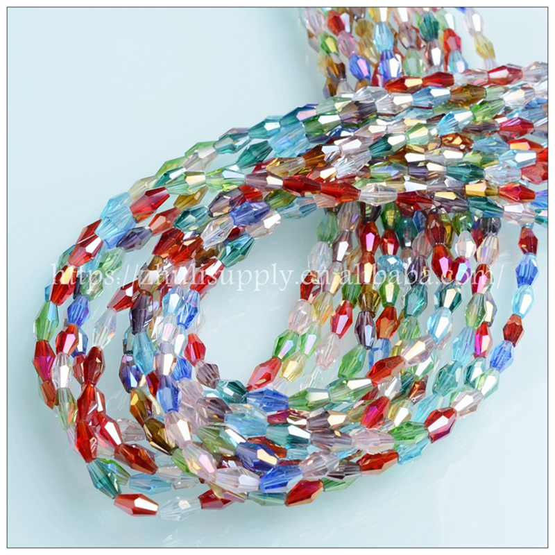 Mixed Color 3x6mm 4x8mm Glass Long Bicone Beads Wholesale Faceted Long Crystal Beads for Jewelry Making