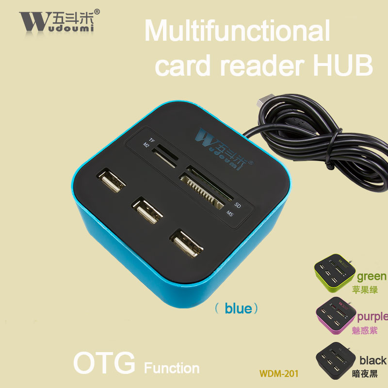 USB COMBO 3 port usb hub 2.0 HUB+multi USB card reader All In One for SD/MMC/M2/MS/MP Pro Duo Many colors factory provided(China (Mainland))
