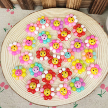 50 Piece Mixed Color Flatback Flat Back Resin Cabochon Kawaii Sunflower With Smille DIY Resin Craft Decoration Scrapbooking 19mm(China)
