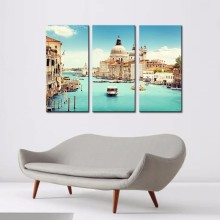 Modern Canvas Painting 3 Pieces Wall Art Italy Venice Landscape Oil Painting Beautiful City River Decorative Picture Home Decor