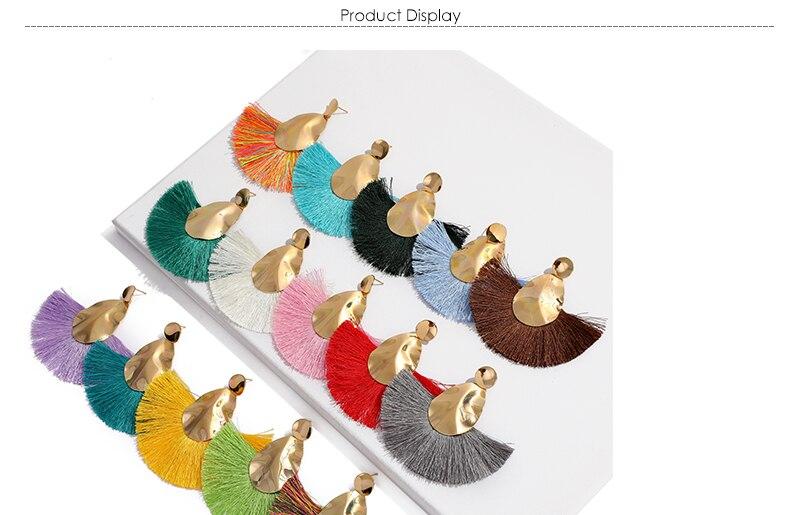 AYAYOO 19 Colors Fashion Tassel Earrings For Women Gold Color Metal Simple Fringe Dangle Earrings Handmade Ethnic Jewelry (1)