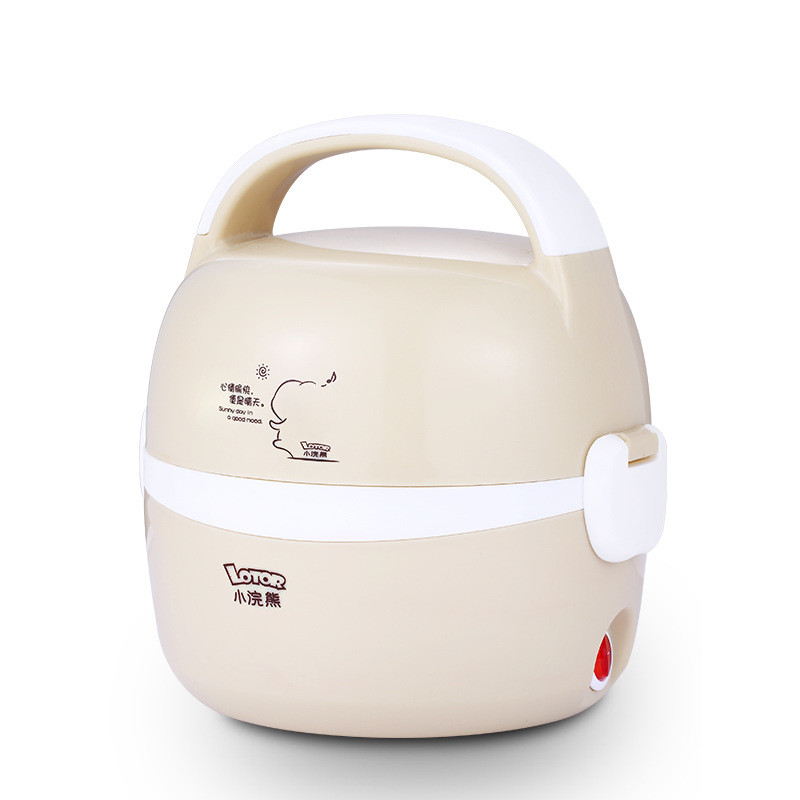 220V 1.3L Portable Electric Mini Rice Cooker Double Layer Stainless Steel Inner Heating Rice Cooker Lunch Box <br>