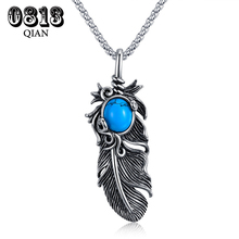 Foreign Trade European Restore Ancient Ways Feather Time Jewel stainless steel Necklace MB(China)