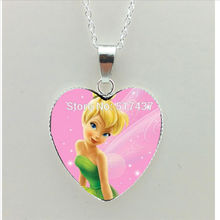 2017 New TinkerBell Heart Necklace Tinker Bell Heart Jewelry Murano Glass Heart Necklace Cartoon Picture Pendant HZ3(China)