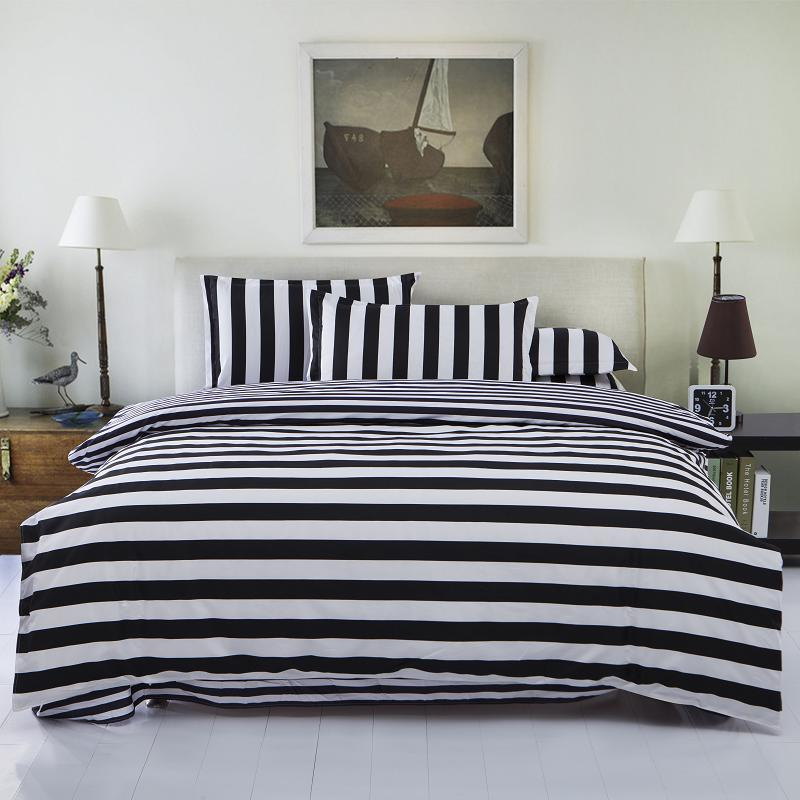 2016 New Drop Ship Bedding Set Twin/Full/Queen Size Duvet Cover Set Classic Black and White Bed Sheet Sets Home Textile(China (Mainland))